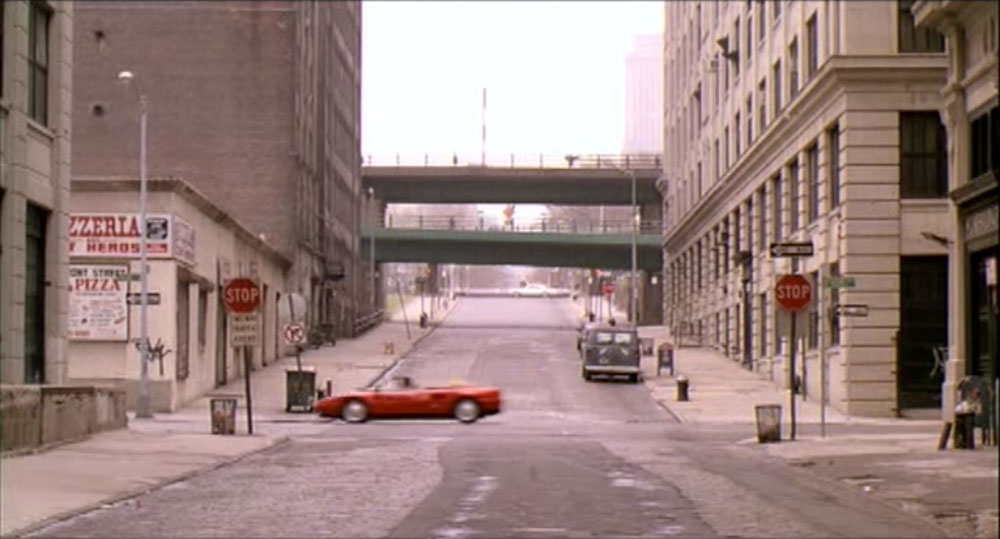 Ferrari driving in empty DUMBO
