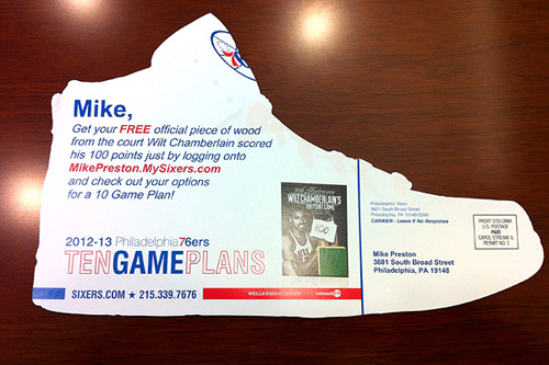 The Philadelphia 76ers using a personal postcard to sell tickets