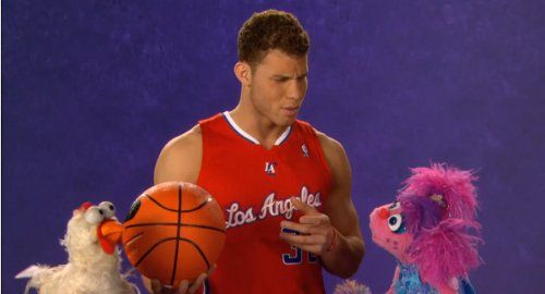 Blake Griffin takes part in a chicken calling competition on Sesame Street