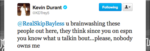 Kevin Durant responds to Skip Bayless after Bayless says LeBron James owns him