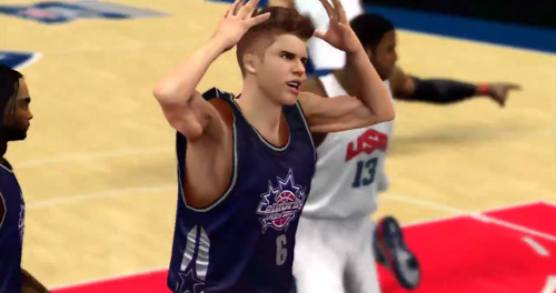 Justin Bieber is part of NBA 2K13's celebrity team and we have a sneak peek of the Biebs in action against Team USA, doing both well and not-so-well