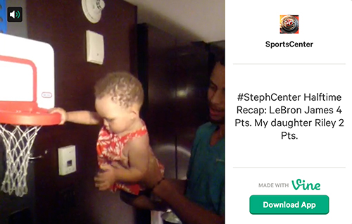 Stephen Curry uses his daughter, Riley, to make fun of LeBron James' first-half performance.
