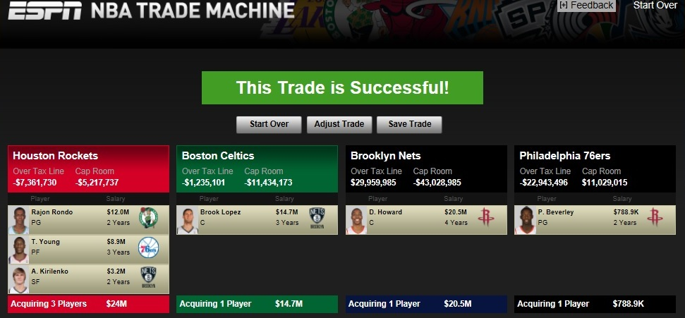 *In order for this trade to work, Houston, and possibly the Boston Celtics, would have to send first round picks to the Philadelphia 76ers.