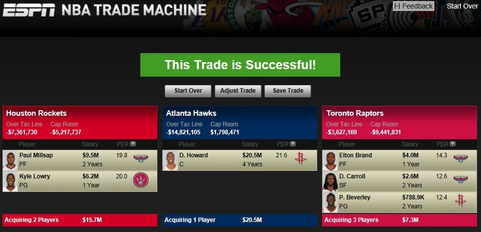 *Here's another which picks would likely need to be sent to the Toronto Raptors; the Atlanta Hawks and Houston Rockets both have a lot of picks.