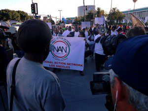 Image courtesy of Craig Dietrich/Flickr. National Action Network Los Angeles participants march outside Staples Center in protest of Donald Sterling's racist comments