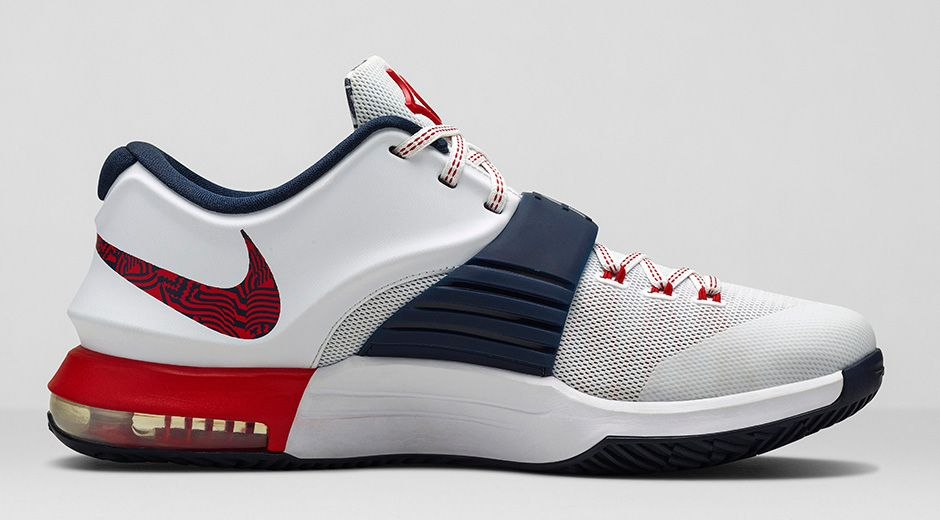 "new product f93c6 a9ffd JULY 4TH Durant s love for Independence Day with its fireworks, or  ""man-made lightning,"" inspired this this red, white and blue color way  featuring festive ..."