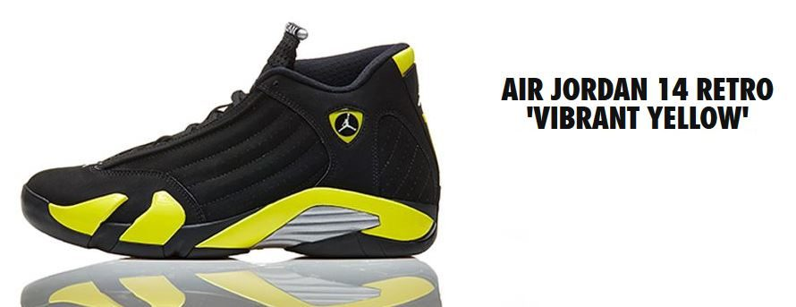 b8b1d62718f3  98 Style  Air Jordan 14 Retro  Vibrant Yellow  - Hardwood and Hollywood