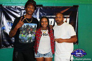Pictured left to right: rapper Scotty ATL, Voice of the A.E.B.L, Bria Janelle and A.E.B.L founder Jah Rawlings.