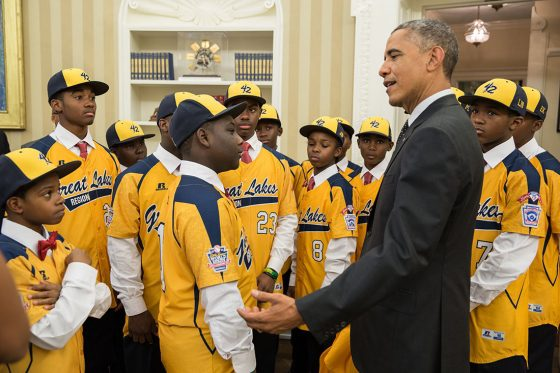 President Barack Obama welcomes the Jackie Robinson West All Stars to the Oval Office, Nov. 6, 2014. (Official White House Photo by Pete Souza)