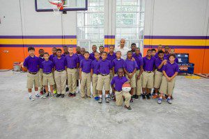 Image courtesy of Joe Goodwin Photography. Darrell Griffith and the children of West End School attend the opening of  the Darrell Griffith Athletic Center.