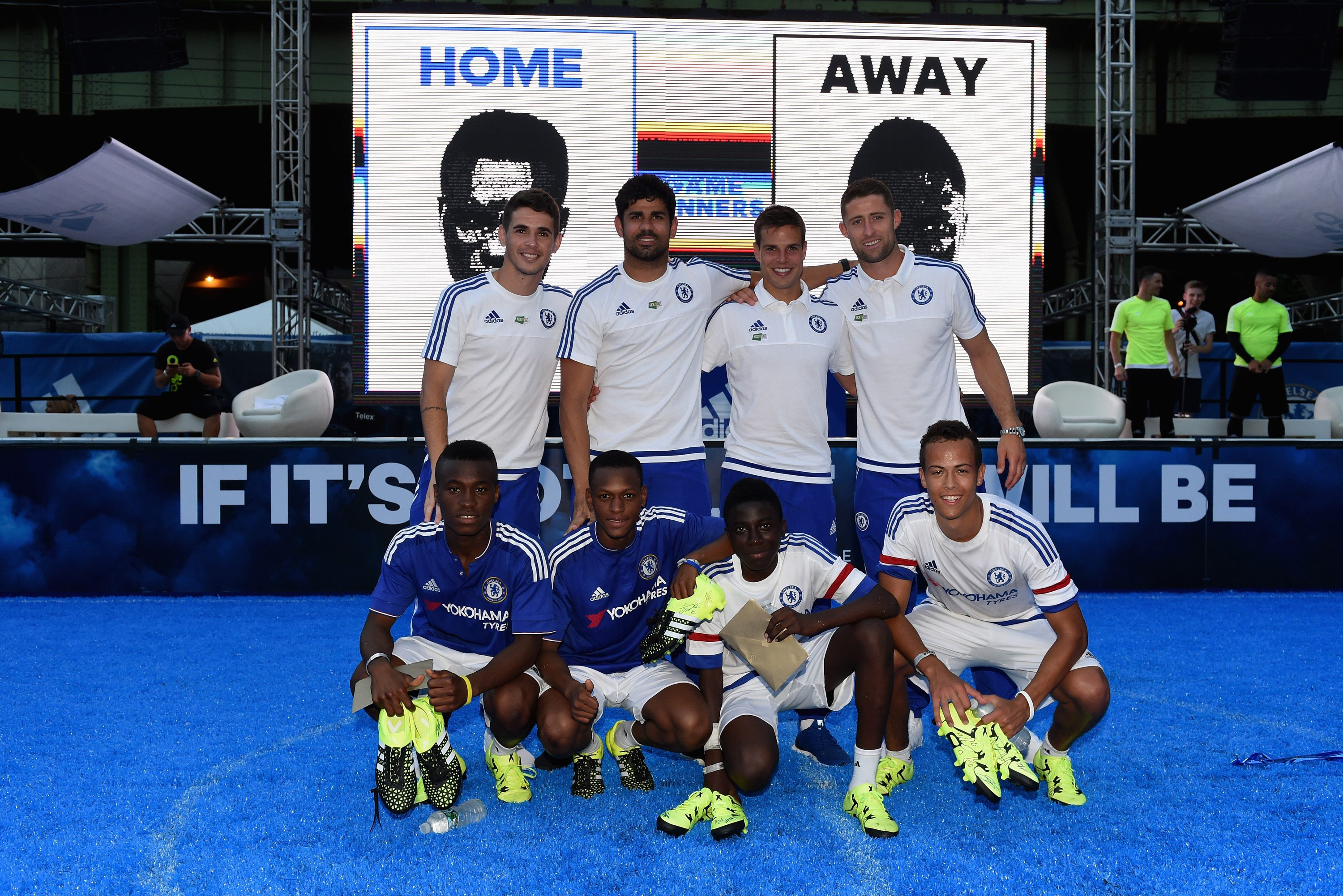 Chelsea's Gary Cahill, Oscar, Diego Costa, Cesar Azpilicueta, Eden Hazard during the Adidas Be The Difference Event on 21st July 2015 at the FC Harlem Training Ground in Harlem, New York, USA.