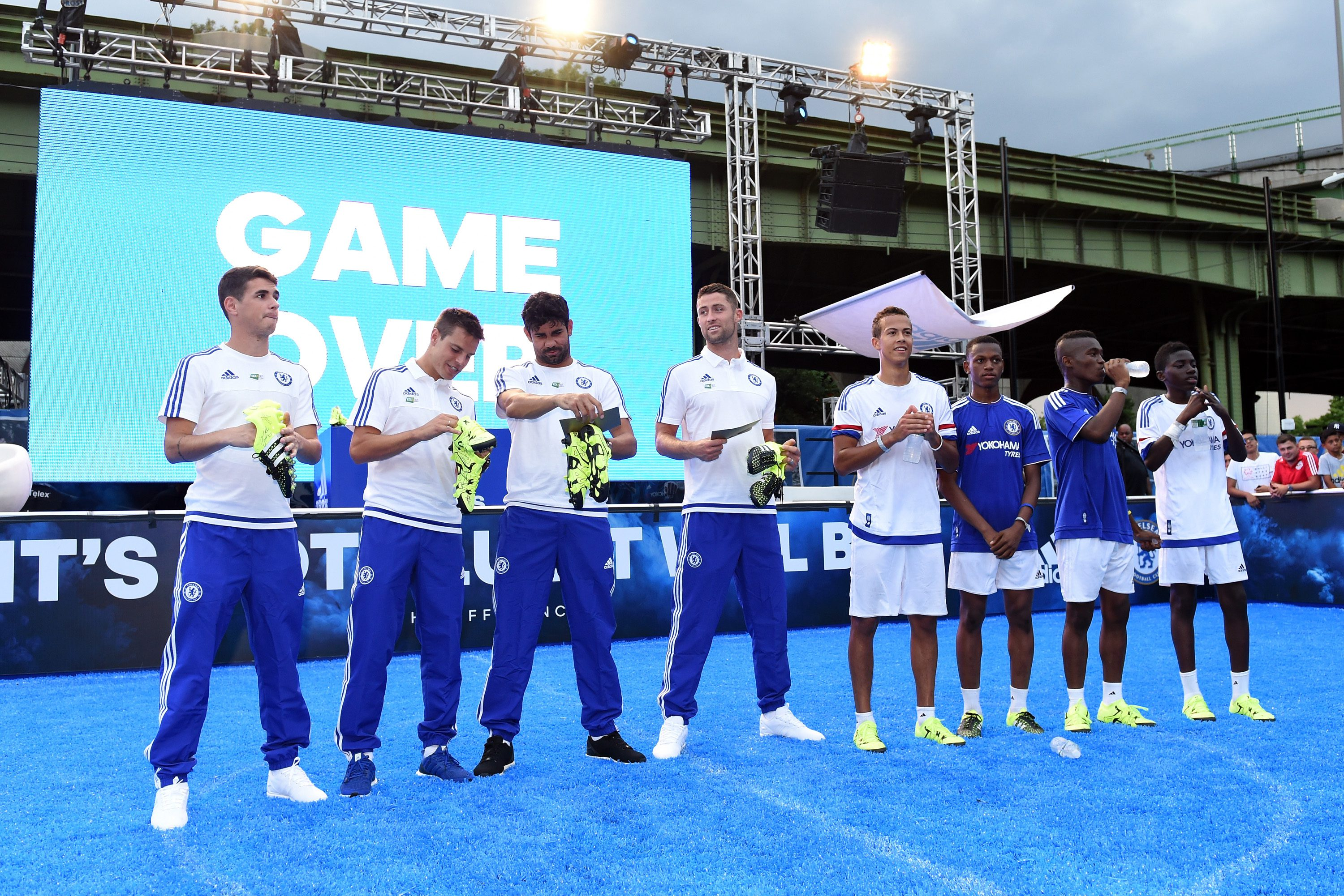 Chelsea's Gary Cahill, Oscar, Diego Costa, Cesar Azpilicueta during the Adidas Be The Difference Event on 21st July 2015 at the FC Harlem Training Ground in Harlem, New York, USA.