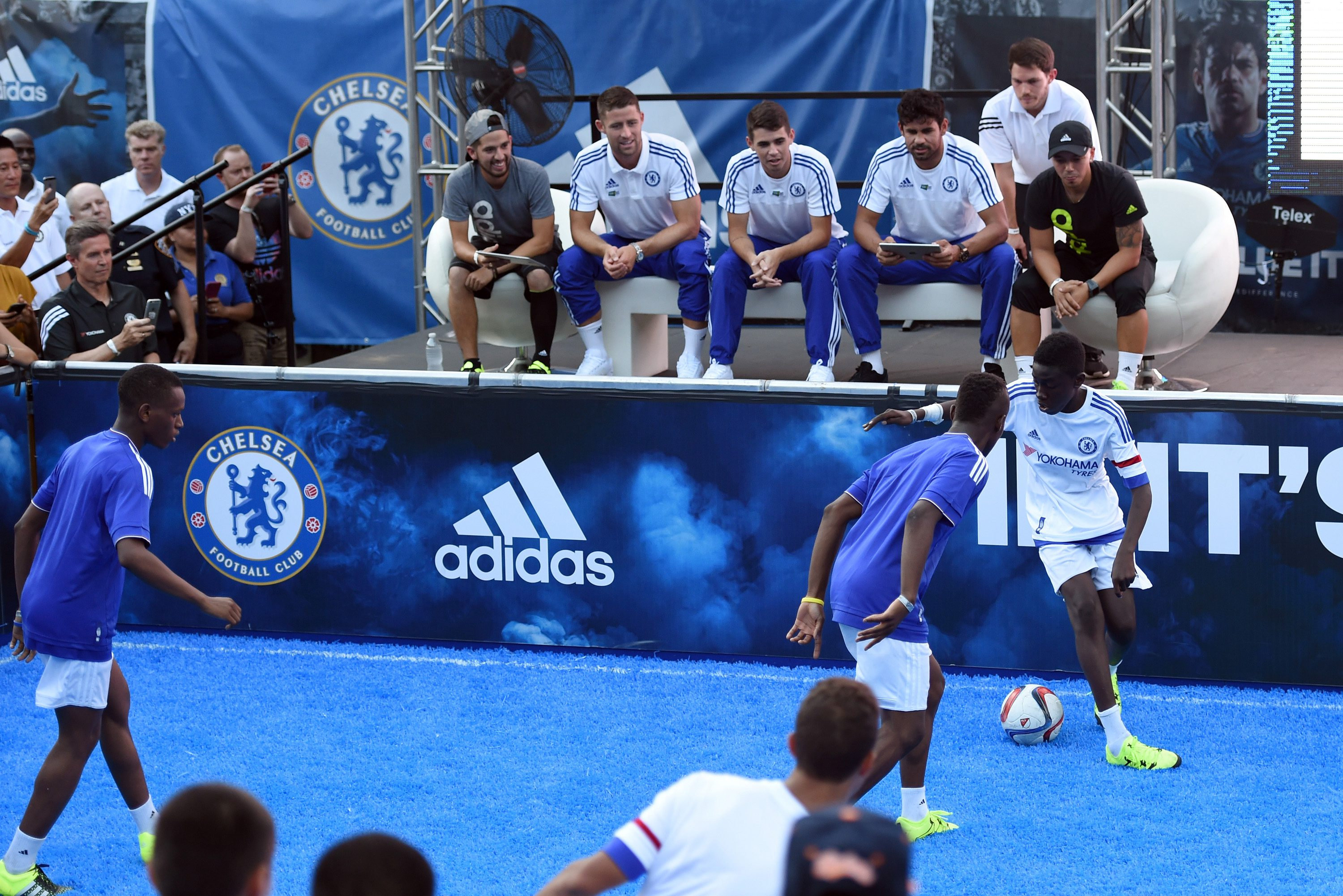 Chelsea's Gary Cahill, Oscar, Diego Costa during the Adidas Be The Difference Event on 21st July 2015 at the FC Harlem Training Ground in Harlem, New York, USA.