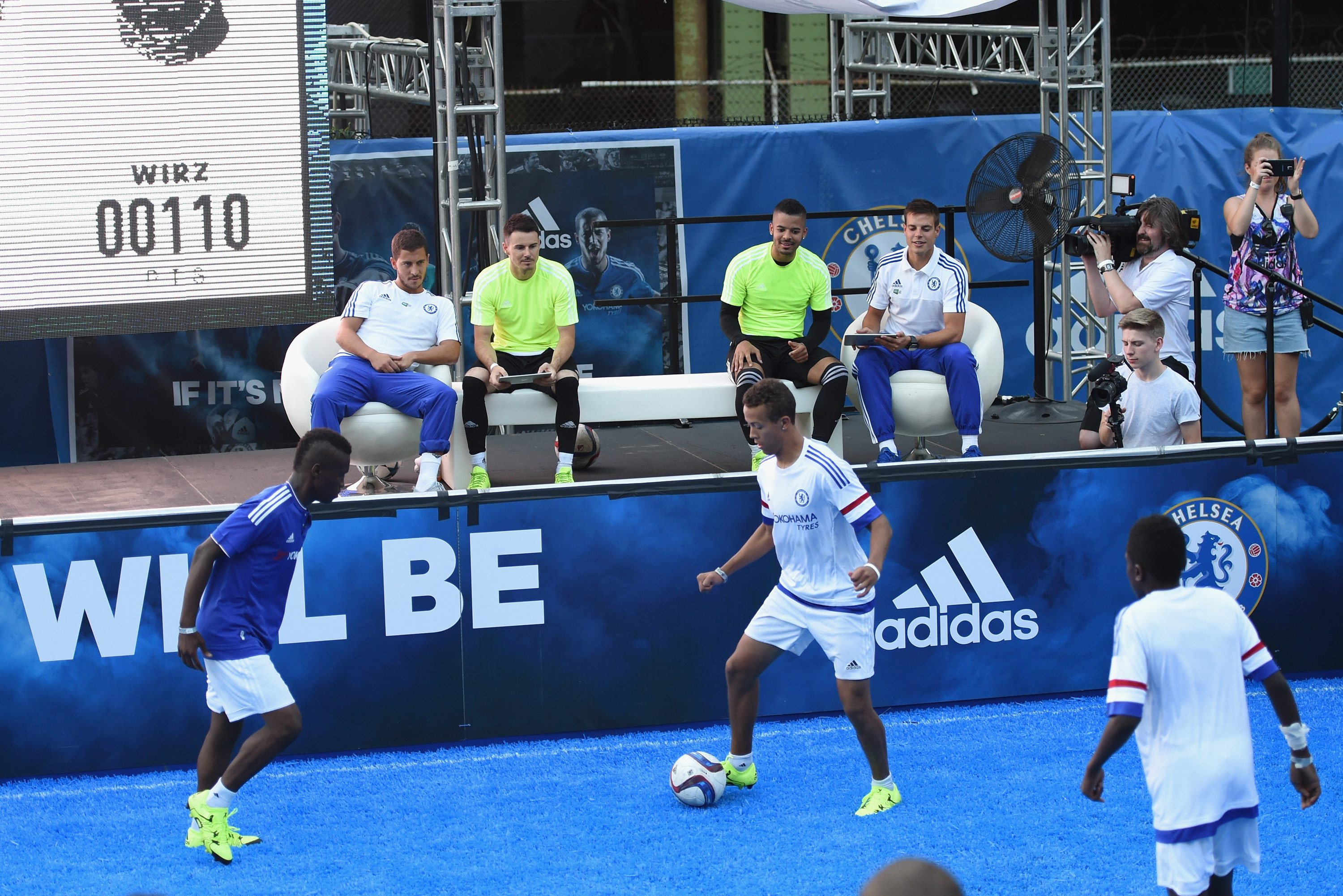 Chelsea's Eden Hazard, Cesar Azpilicueta during the Adidas Be The Difference Event on 21st July 2015 at the FC Harlem Training Ground in Harlem, New York, USA.