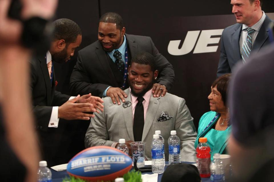 Sharrif Floyd is all smiles as his name is called during the 2013 NFL Draft. Screen capture courtesy of the NFL/YouTube.