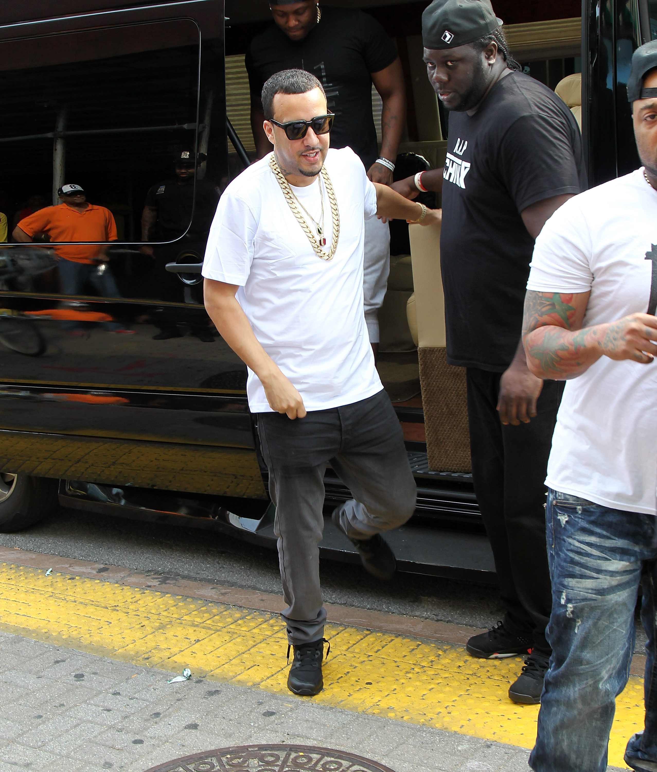 NEW YORK, NY - AUGUST 30:  French Montana launches Ventilator ST at Jimmy Jazz in Harlem on August 30, 2015 in New York City.  (Photo by Bennett Raglin/Getty Images for Reebok)