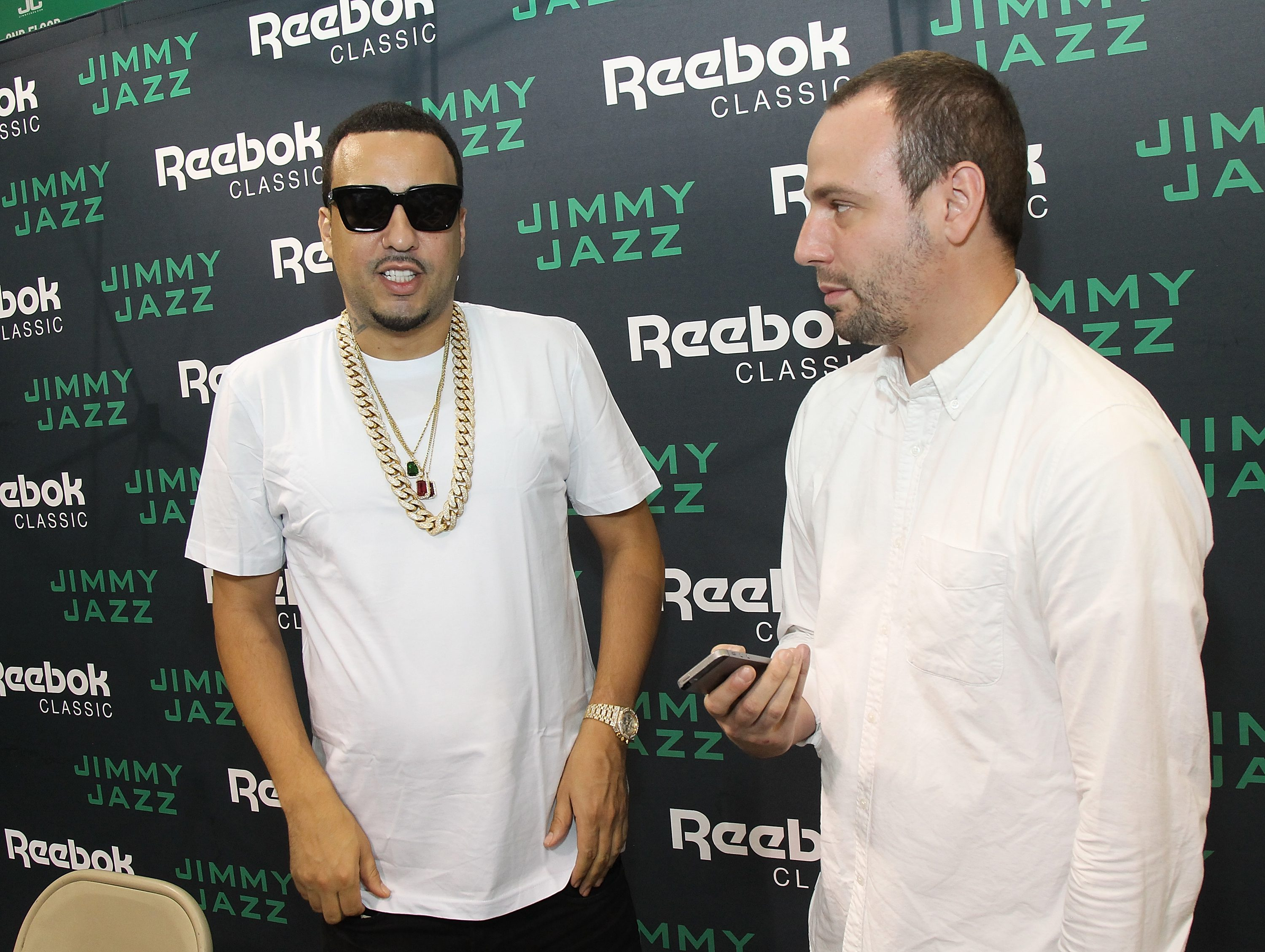 NEW YORK, NY - AUGUST 30:  French Montana (L) launches Ventilator ST at Jimmy Jazz in Harlem on August 30, 2015 in New York City.  (Photo by Bennett Raglin/Getty Images for Reebok)