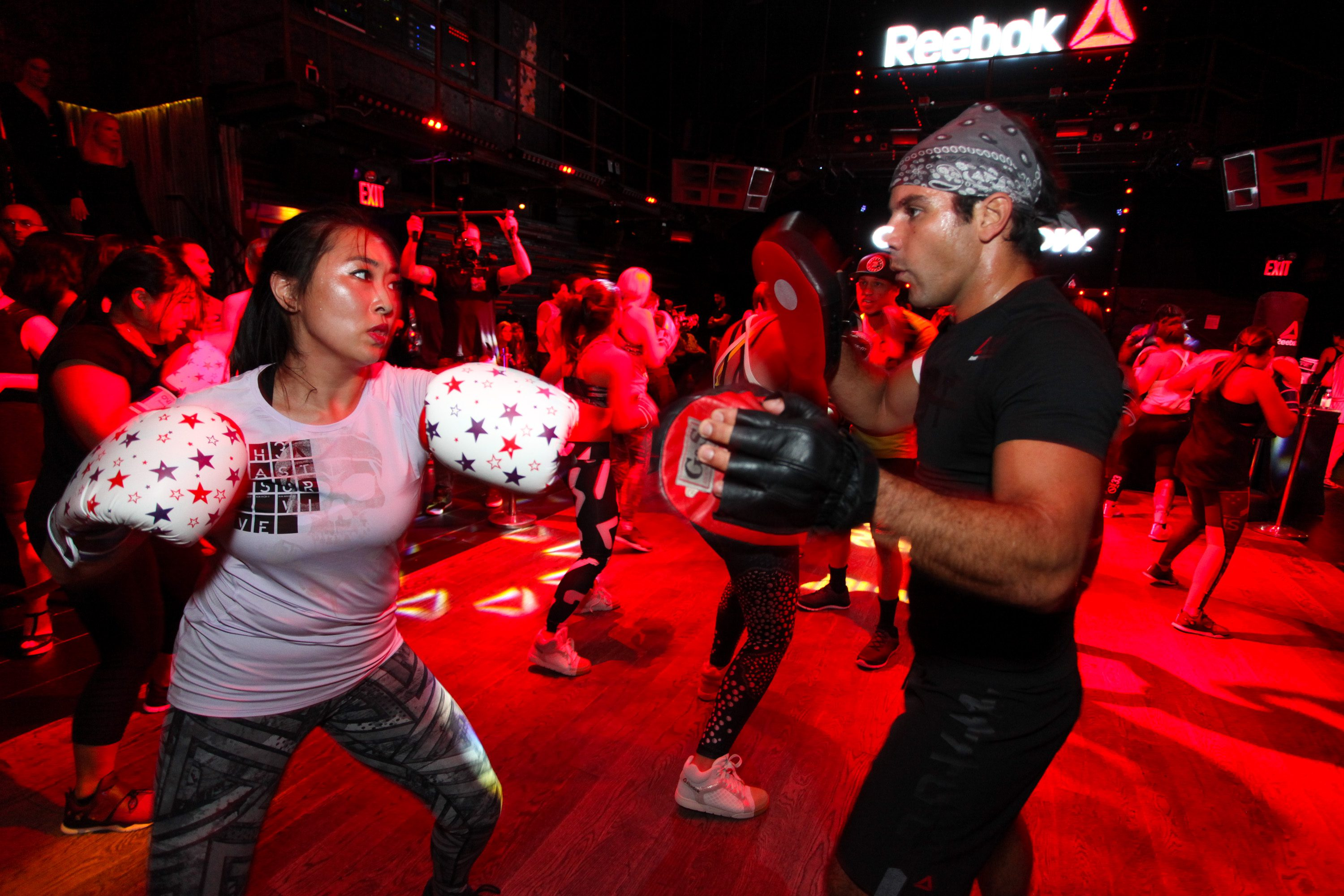 NEW YORK, NY - SEPTEMBER 16: Guests participate in the Ultimate Boxing Overthrow Class at Marquee on September 16, 2015 in New York City. (Photo by Donald Bowers/Getty Images for Reebok)