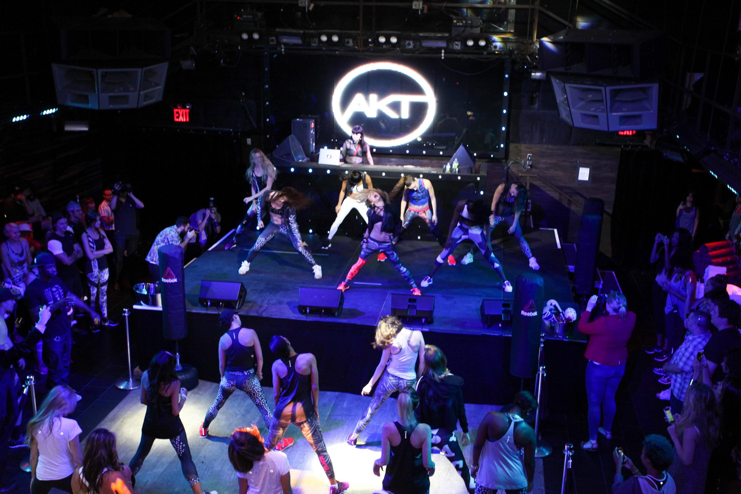 NEW YORK, NY - SEPTEMBER 16: Guests participate in the AKT in Motion Class at Marquee on September 16, 2015 in New York City. (Photo by Donald Bowers/Getty Images for Reebok)