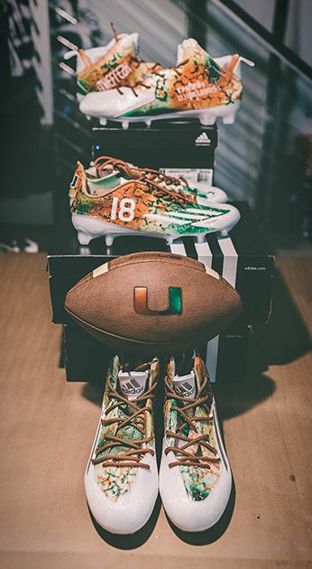 Final Stage  Miami Hurricanes x adidas Football x Soles By Sir custom cleats 5a41c1094