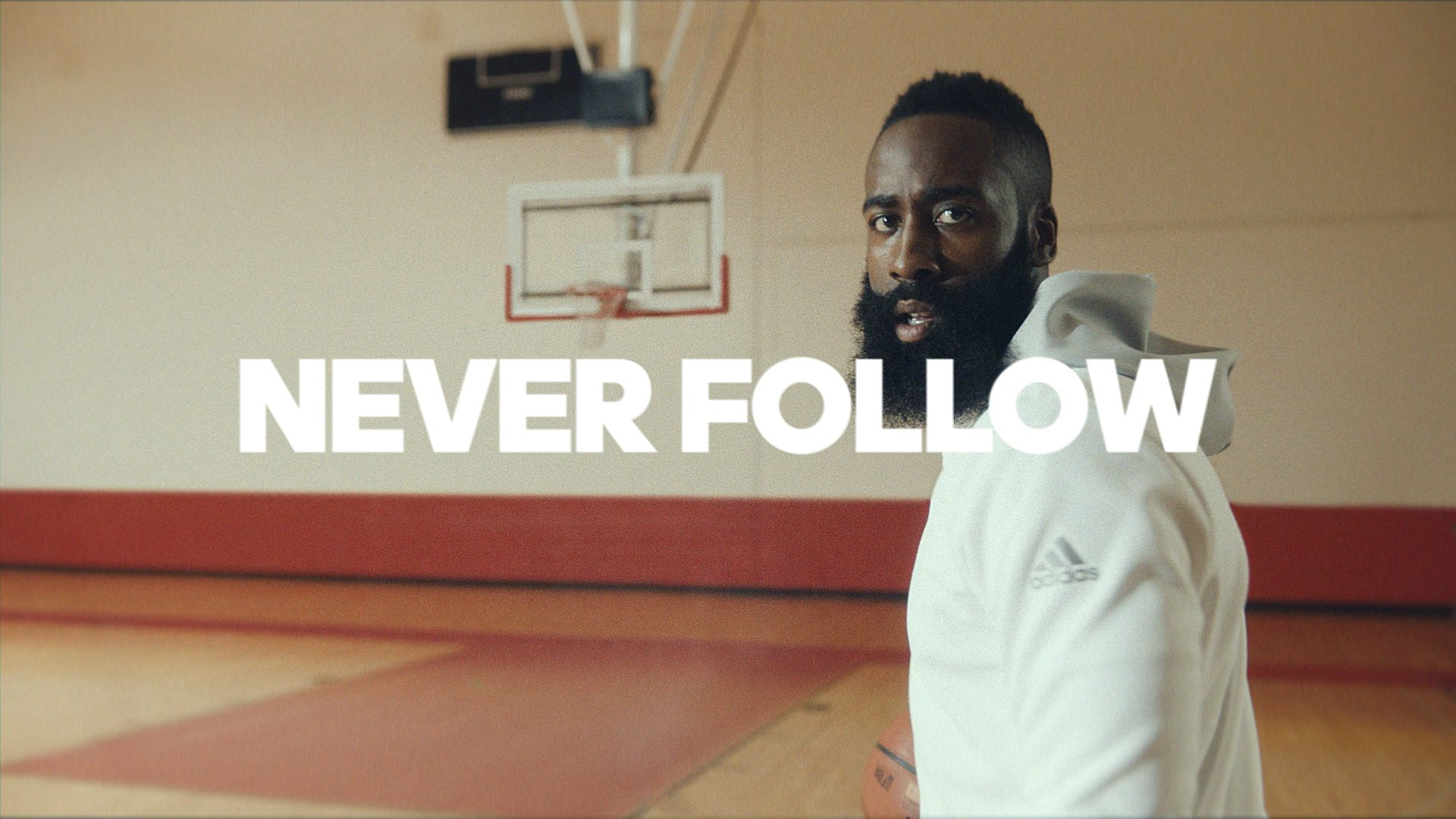 james harden stands alone in 39 creators never follow 39 adidas video hardwood and hollywood. Black Bedroom Furniture Sets. Home Design Ideas