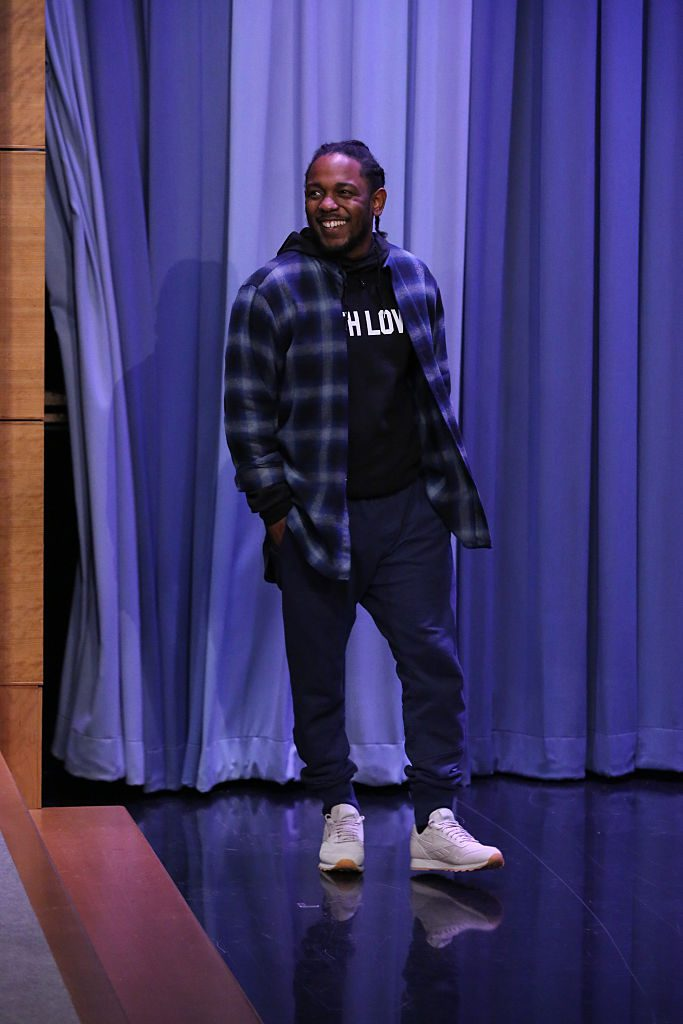 THE TONIGHT SHOW STARRING JIMMY FALLON -- Episode 0395 -- Pictured: Hip-hop artist Kendrick Lamar arrives on January 7, 2015 -- (Photo by: Douglas Gorenstein/NBC/NBCU Photo Bank via Getty Images)