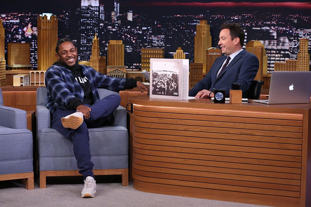 THE TONIGHT SHOW STARRING JIMMY FALLON -- Episode 0395 -- Pictured: (l-r) Hip-hop artist Kendrick Lamar during an interview with host Jimmy Fallon on January 7, 2015 -- (Photo by: Douglas Gorenstein/NBC/NBCU Photo Bank via Getty Images)