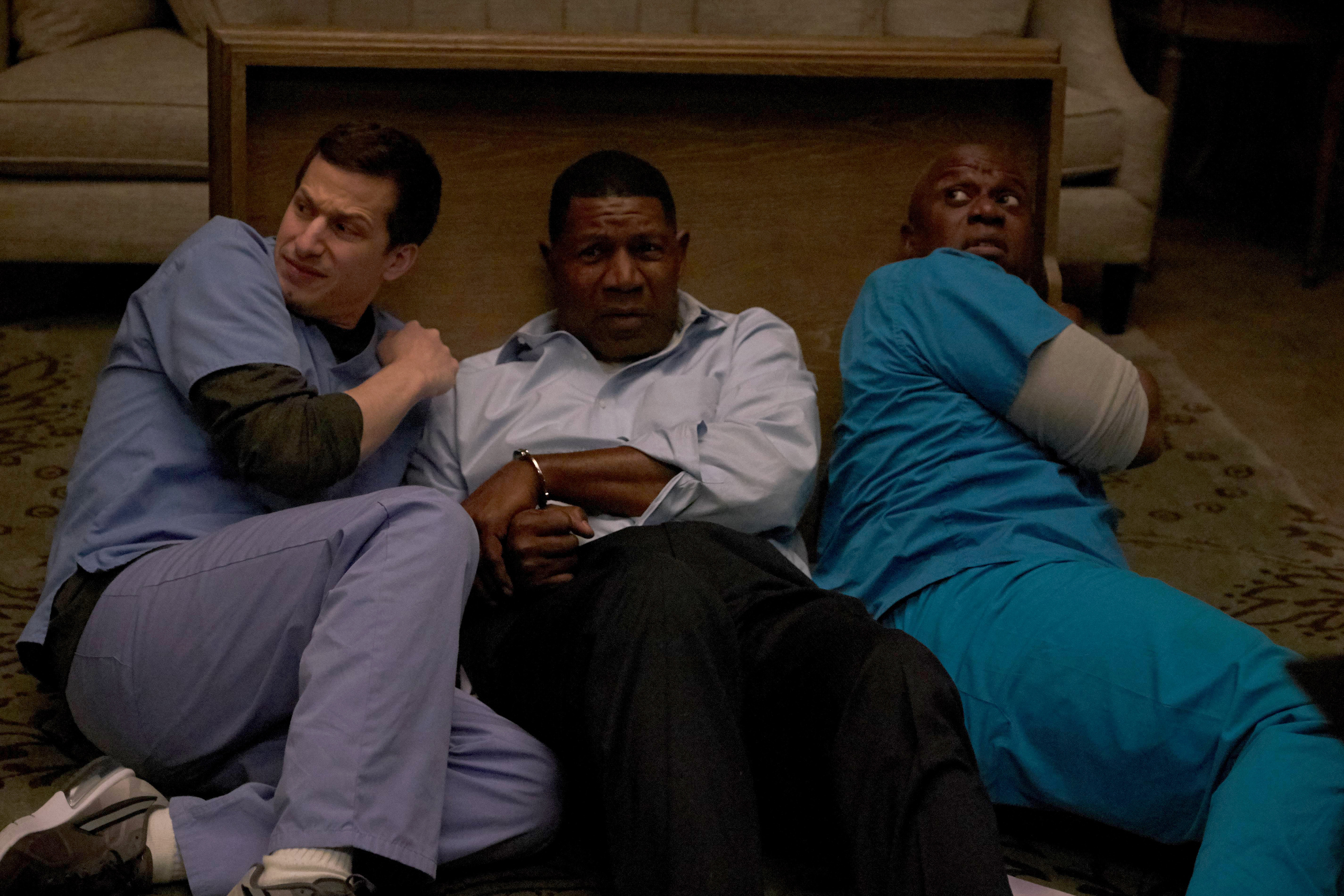 "BROOKLYN NINE-NINE: L-R: Andy Samberg, guest star Dennis Haysbert and Andre Braugher in the ""Greg and Larry"" season finale episode of BROOKLYN NINE-NINE airing Tuesday, April 19 (9:00-9:30 PM ET/PT) on FOX. ©2016 Fox Broadcasting Co. CR: John P. Fleenor/FOX"