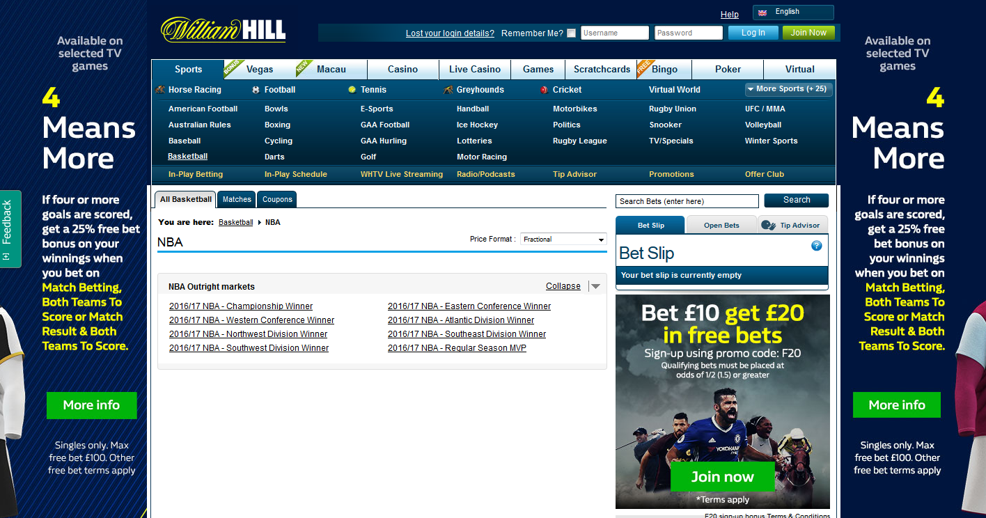 William Hill offers the best NBA betting opportunities