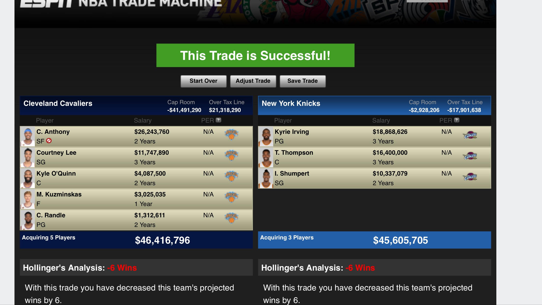 Knicks trade