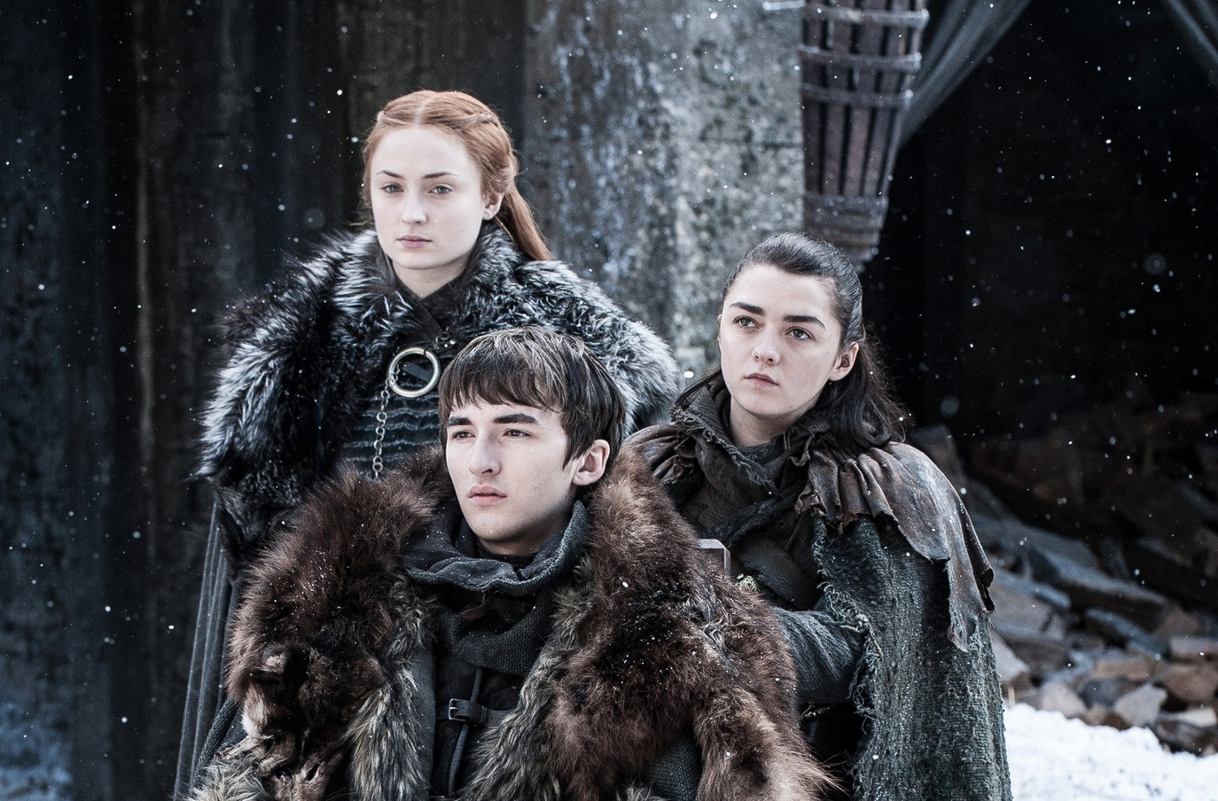 Sansa-Arya-and-Bran-reunited-The-Spoils-of-War