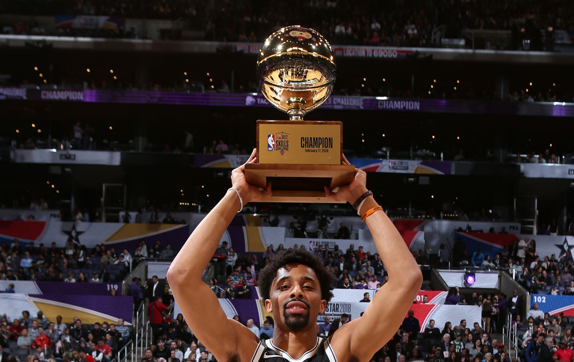 Spencer Dinwiddie Defeats Lauri Markkanen in Skills Challenge Finale - Hardwood and Hollywood