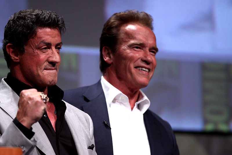 Two of the original bad action movie stars, Sly and Arnold.